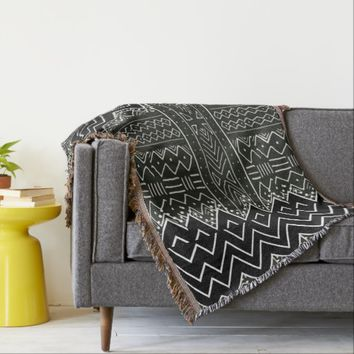 Black and White African Pattern Throw Blanket