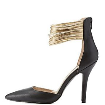 QUPID SUPER STRAPPY ANKLE CUFF PUMPS