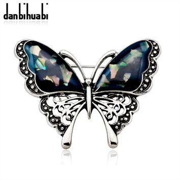 Fashion Natural Shell Butterfly Animal Enamel Brooches for Women Wedding Bouquets Silver Color Lapel Pins and Brooch Jewelry