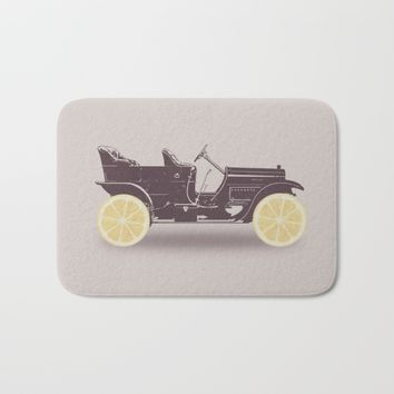 Fresh Drive - Oldtimer - Historic Car with lemon wheels Bath Mat by Badbugs_art