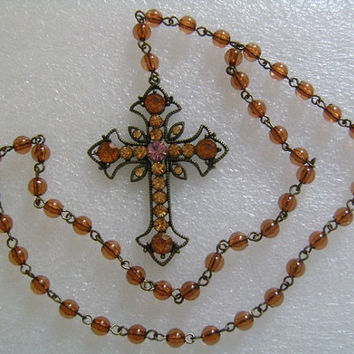 Amber Orange Purple Rhinestones and Brown Lucite/Plastic Beaded Rosary Antique Finish Brass Cross Necklace Religion and Spirituality Jewelry