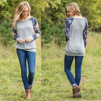 Ladies Print Long Sleeve Round-neck T-shirts [274459361309]