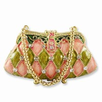 Pink/Green Enameled & Crystal Handbag Trinket Box