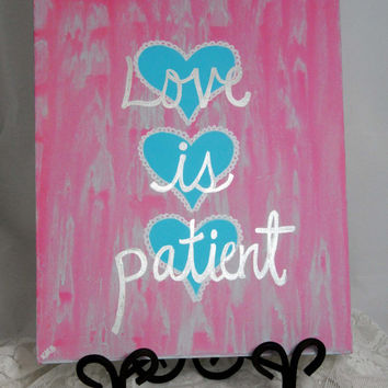 Love Quote Wall Art, Love is Patient Canvas Painting, Reception Decoration, Wedding Decor Art, Hearts, Pastel Pink, Blue, Silver, Sweet Gift