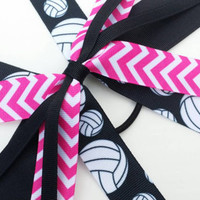 Pink volleyball bow, pink and black volleyball hair streamers, ponytail ribbon streamers, volleyball ribbon, sports, athlete, team bows