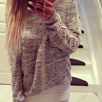 Fashion Womens Casual Lace Patchwork Long Sleeve Shirts Top