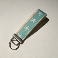 Key FOB / KeyChain / Wristlet  - Beachy Starfish aqua  on natural webbing friends teacher bridemaids gifts under 10