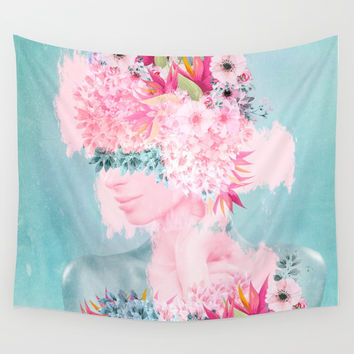 Woman in flowers II Wall Tapestry by vivianagonzlez