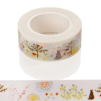 1 Pcs Cats And Grass Cartoon Washi Paper Masking Tapes Diy Scrapbooking Decorative Stickers Material Escolar