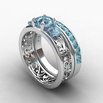 engagement ring set,  aquamarine ring, filigree, white gold, wedding band, blue engagement, wedding set, eternity