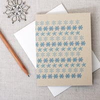Modern Holiday Note Card // Warm Wishes // Blue Snowflake Pattern