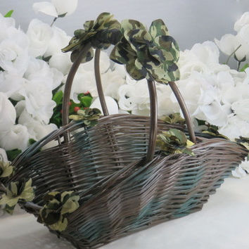 Camo Wedding Basket - Camo Accessories - Flower Girl Basket - Rustic Wedding - Country Wedding - Woodlands Camo - Baskets and Pillows
