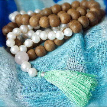 Spring white pearl & pink rose quartz Long Mala Green tassel 108 rosewood beads Yoga Gift Love Growth Healing Heart Chakra Feminine Bohemian