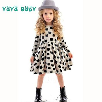 Long Sleeve Girls Dress 2018 New Cat Printed Kids Dresses for Girls Casual Autumn Spring 2 3 4 5 6 7 Years Childrens Clothing