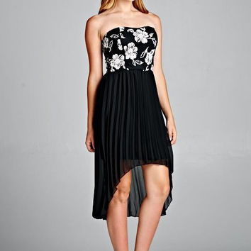 Floral Lace Print Strapless Pleated Hi Lo Dress