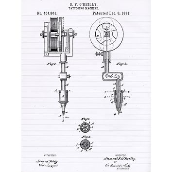 First Tattoo Machine Patent Poster - Patent Poster - Office Art - Wall Art