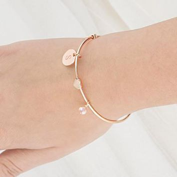 Personalized Wire Bracelet with Sliding Heart Pendant