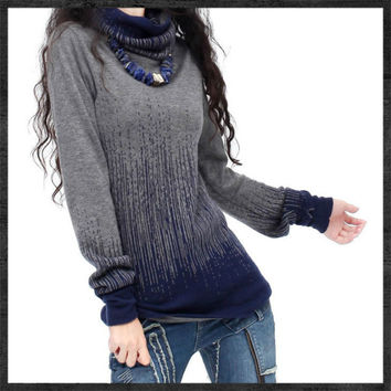 Women's Gradient Black Blue Vintage Cashmere Sweater Women Turtleneck Artkas Thick Sweaters And Pullovers Female Warm Jumpers