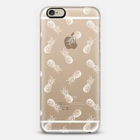 White Tropical Pineapple Pattern Transparent iPhone 6 case by Organic Saturation | Casetify