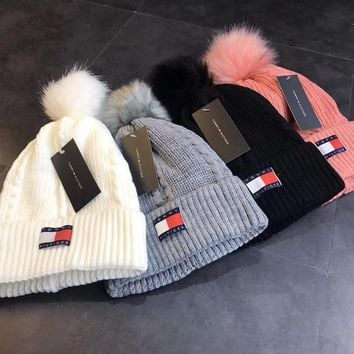 """Tommy Hilfiger"" Fashion Unisex Plus Velvet Hairball Knit Hat Couple Winter Warm Hat"