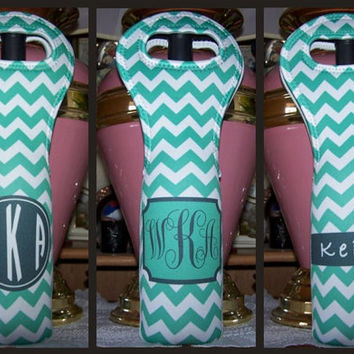 Personalized Wine Tote with Your Monogram and Cheveron Design - Personalized Insulated Wine Bottle Tote Bag, Carrier or Koozie