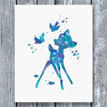 Bambi Disney Watercolor Art Print Instant Download