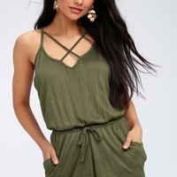 Echo Olive Green Sleeveless Romper