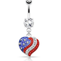 Crystal Paved American Flag Heart Dangle 316L Surgical Steel Navel Ring 14ga
