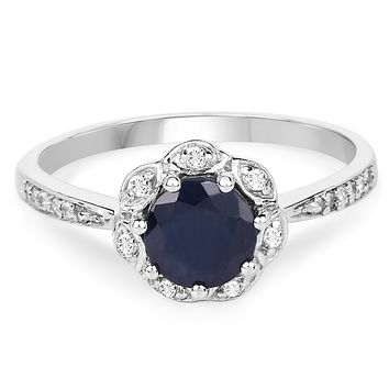 Natural 1.08CT Round Cut Blue Sapphire White Topaz Halo Engagement Ring
