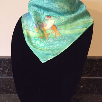 Tree Frog - Hand Painted Silk Scarf