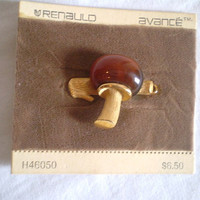 Vintage Mushroom Hair Clip by jclairep on Etsy