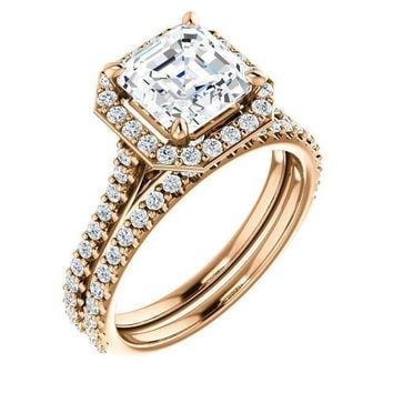 Asscher Moissanite Diamond Accent Ice Halo Bezel Ring