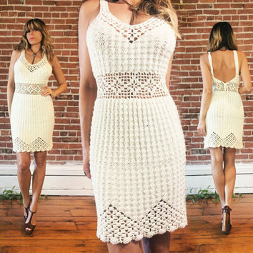 Vintage 1970's CROCHET Peek-A-Boo Ivory White Mini Dress With Plunging Lace Up Back || Hand Crocheted Sexy Beach Wedding Dress | Size Small