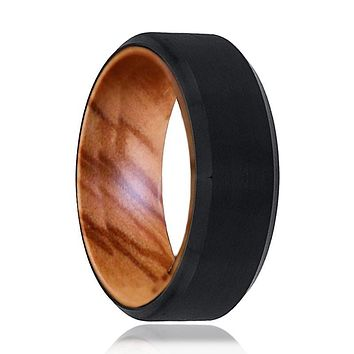 LOTEC Men's Black Tungsten Wedding Band with Olive Wood Inside & Beveled Edges
