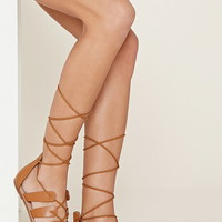 Faux Leather Lace-Up Sandals
