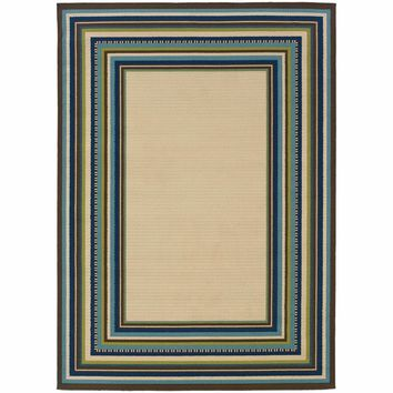 Caspian Ivory Blue Border Stripe Outdoor Rug