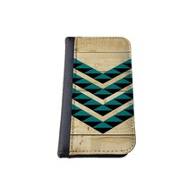 caseorama Wood print iPhone 5C wallet case Flip Case graphic chevron dandelion anchor graphic distressed (Wood Teal Black)