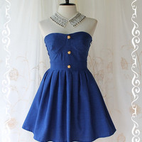 Beauty Queen  Strapless Dress Navy Tone by LovelyMelodyClothing