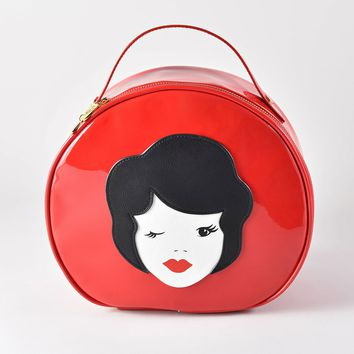 Tatty Devine Retro Style Red Patent Leatherette Vintage Lady Vanity Case