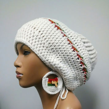 White slouch hat with rasta stripes/ Red Gold Green African crochet earrings and detachable flower clip/ drawstring added to edging