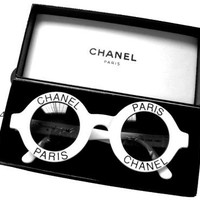 Fancy - Vintage Chanel Logo Round White Sunglasses