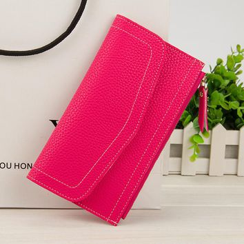 Fashion Hand Take New Design Envelope Shape Hasp Open Wallets Long Fund Zipper Women Multi Function ID Credit Card Holder Purse