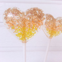 Gold Orange and Yellow Heart Lollipops, Sparkle Lollipops, Candy Lollipop,Wedding Lollipops, Sweet Caroline Confections SIX LOLLIPOPS