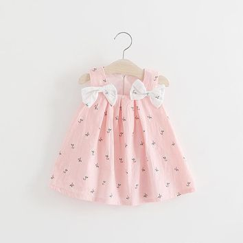 Casual Newborn Bow Dress Summer Infant Toddler Print Bow Pattern For Newborn 1 Years Birthday Party Baptism Dress Clothes