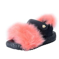 Versace Young Kid's Fur Trimmed Sandals Shoes Sz 30