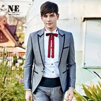 Men's Fashion Silver Blazer England Style Suits Slim Men Jacket [7951199811]
