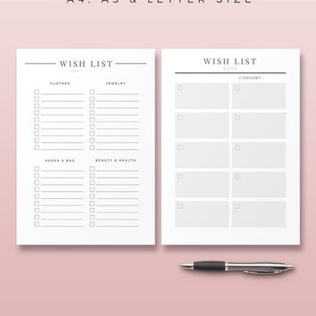 Wish List Printable, 2016 Planner Inserts, A4 - A5 - Letter, Modern Life Organizer, Wish List Pages, Printable Planner Pages, Shopping List
