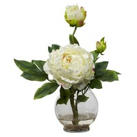 Nearly Natural Peony w/Fluted Vase Silk Flower Arrangement