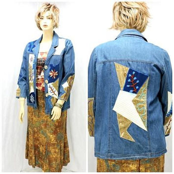 Wearable art jean jacket / size 12 /14  M / L / embroidered denim blazer / jacket / 80s embellished boho hippie Artsy jean jacket
