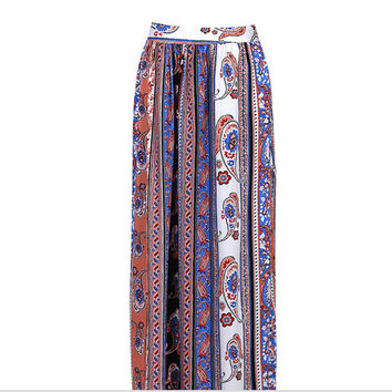 Boho Floral Maxi Beach Casual Skirt